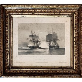 Engraving 19th century French, navy