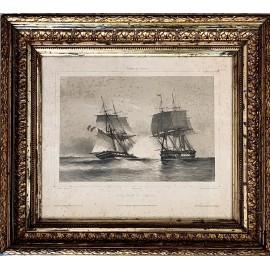 Grabado francés del siglo XIX, marina