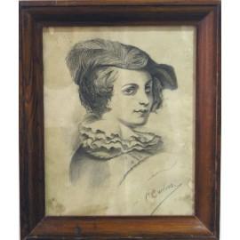 Retrato de mujer, carboncillo, siglo XIX.