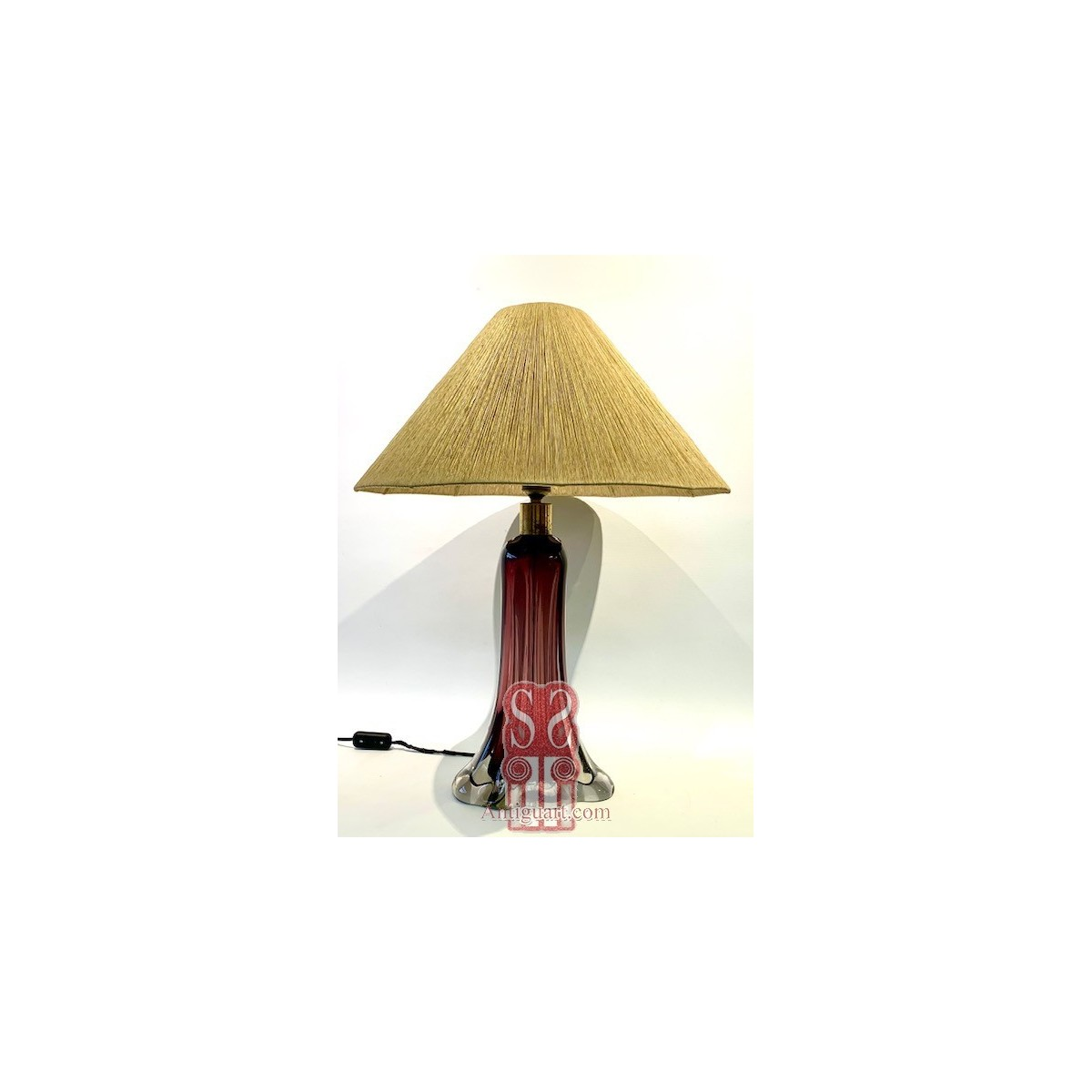 Lampada da tavolo di vetro anni 1970-80