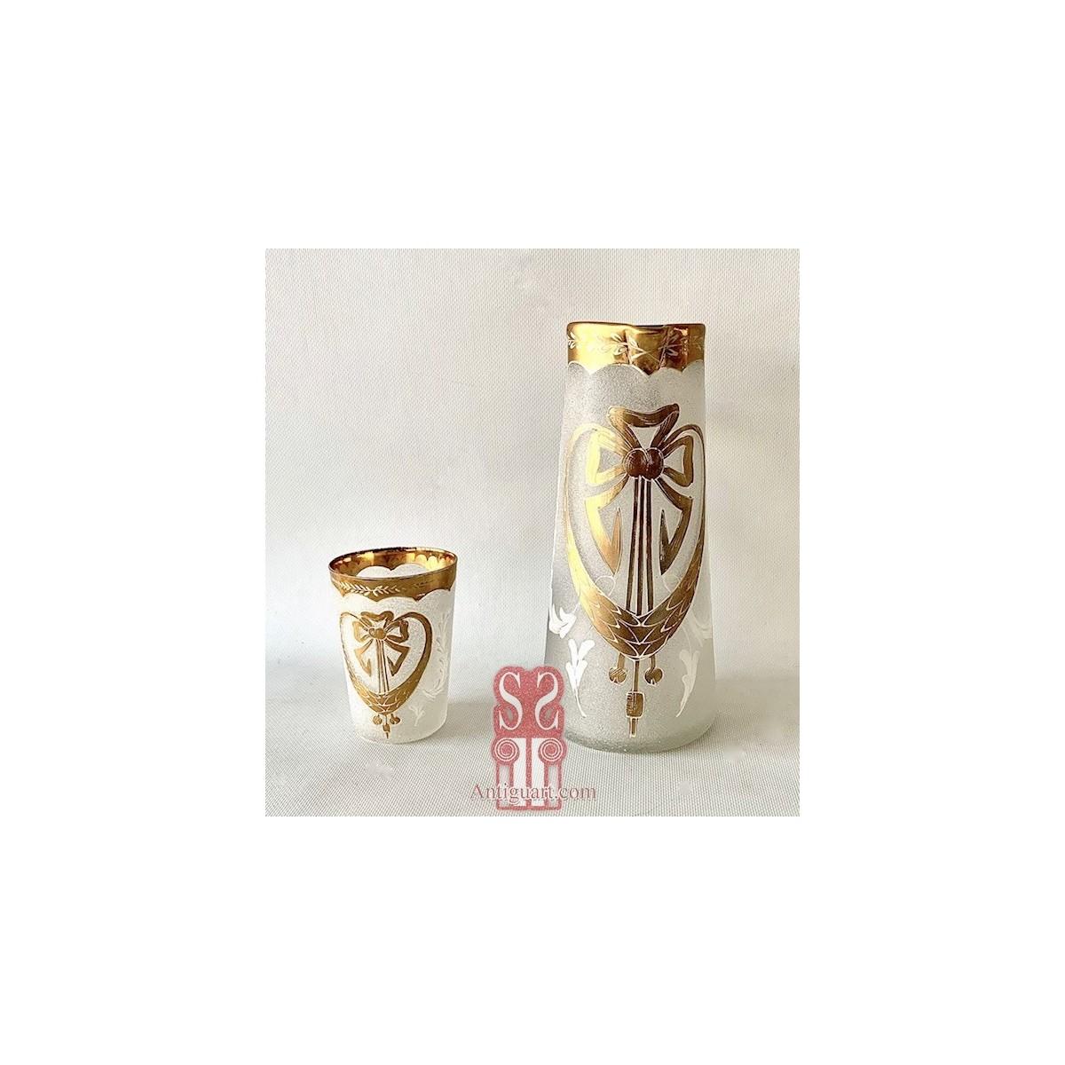 Brocca e bicchiere di vetro liberty