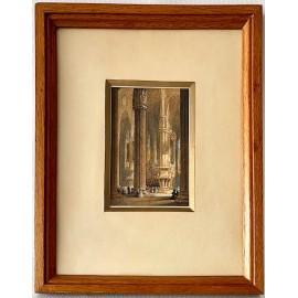 """""""Interior de catedral"""", miniatura al guache."""