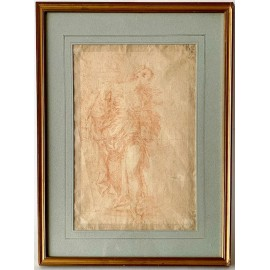 Sanguine drawing on paper from 17th century