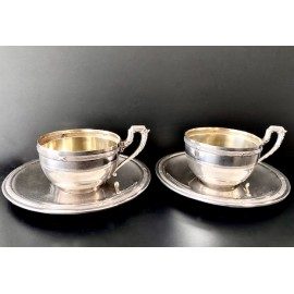 Pair of cups and coffee plates sterling silver