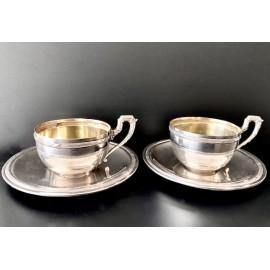 Coppia di tazzine e piatti da caffè d'argento sterling 925