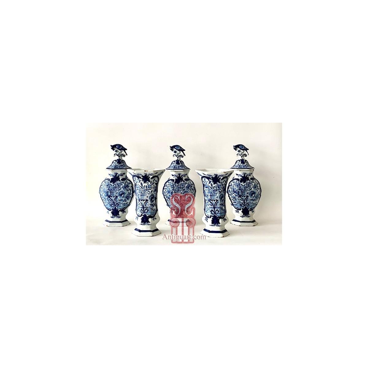 Garniture of five 18th Dutch Delft majolica vases