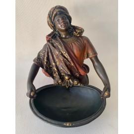 """""""Moretto con vassoio"""" scultura orientalista di terracotta"""
