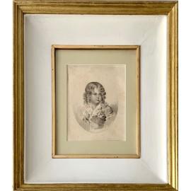Ritratto di bambino, disegno a matita del XIX Secolo