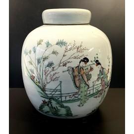 Jarrón chino de porcelana, Qing, siglo XIX