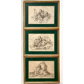 Engraving allegories of arts 18th