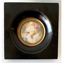 Miniatura del XIX secolo, ritratto di donna.