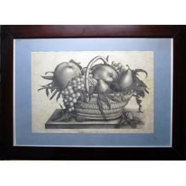 Bodegón de fruta, grabado de principio del siglo XX.