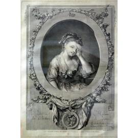 Retrato, grabado francés del siglo XIX