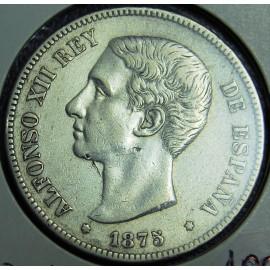 5 pesetas 1875 Alfonso XII.