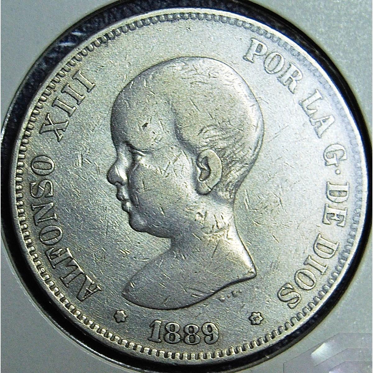 5 pesetas 1889, Alfonso XIII.