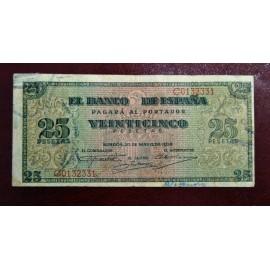 Billete de 25 pesetas, 20 de mayo 1938.