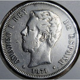 Moneda de 5 pesetas Amadeo I, 1871