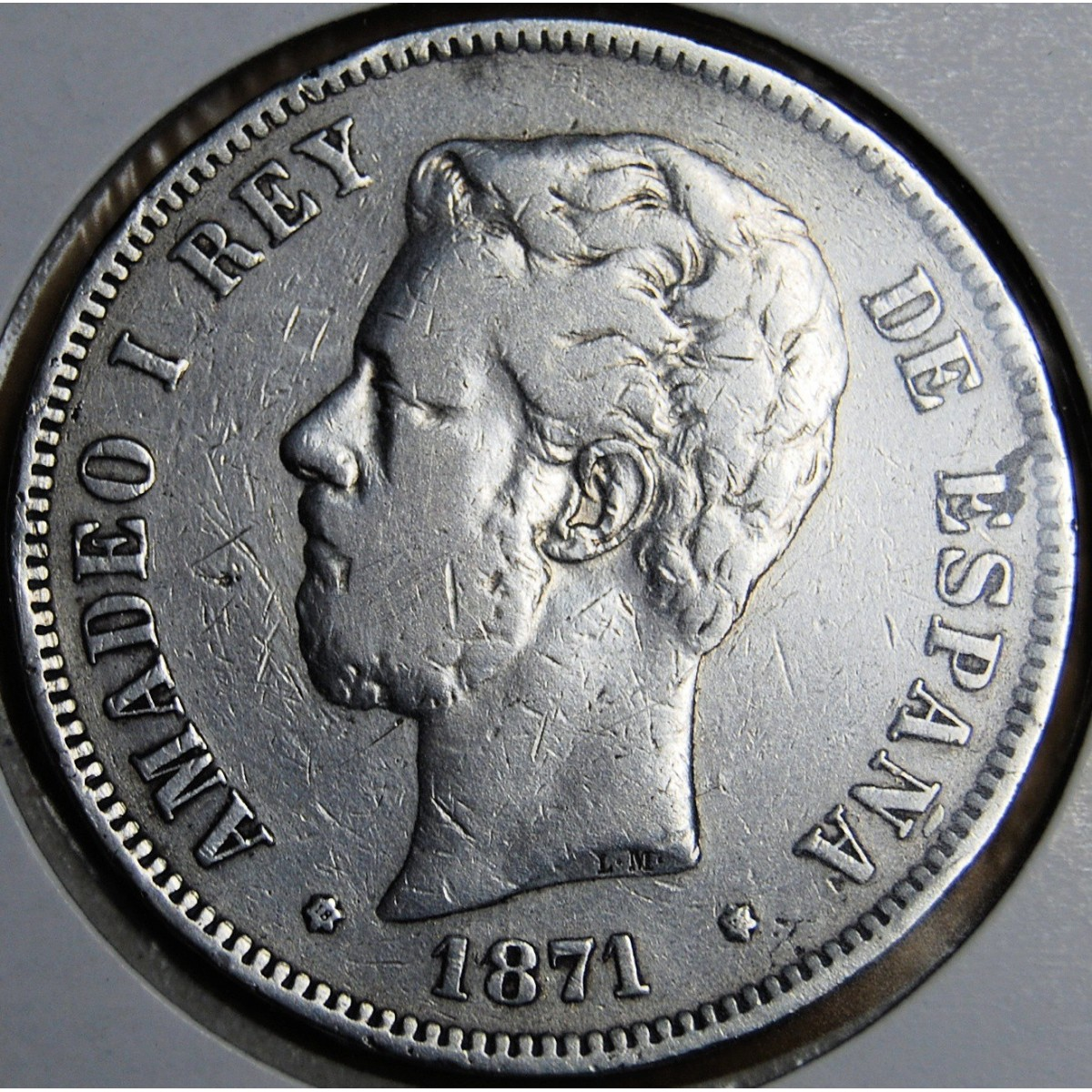 Moneda de 5 pesetas Amadeo I, 1871.