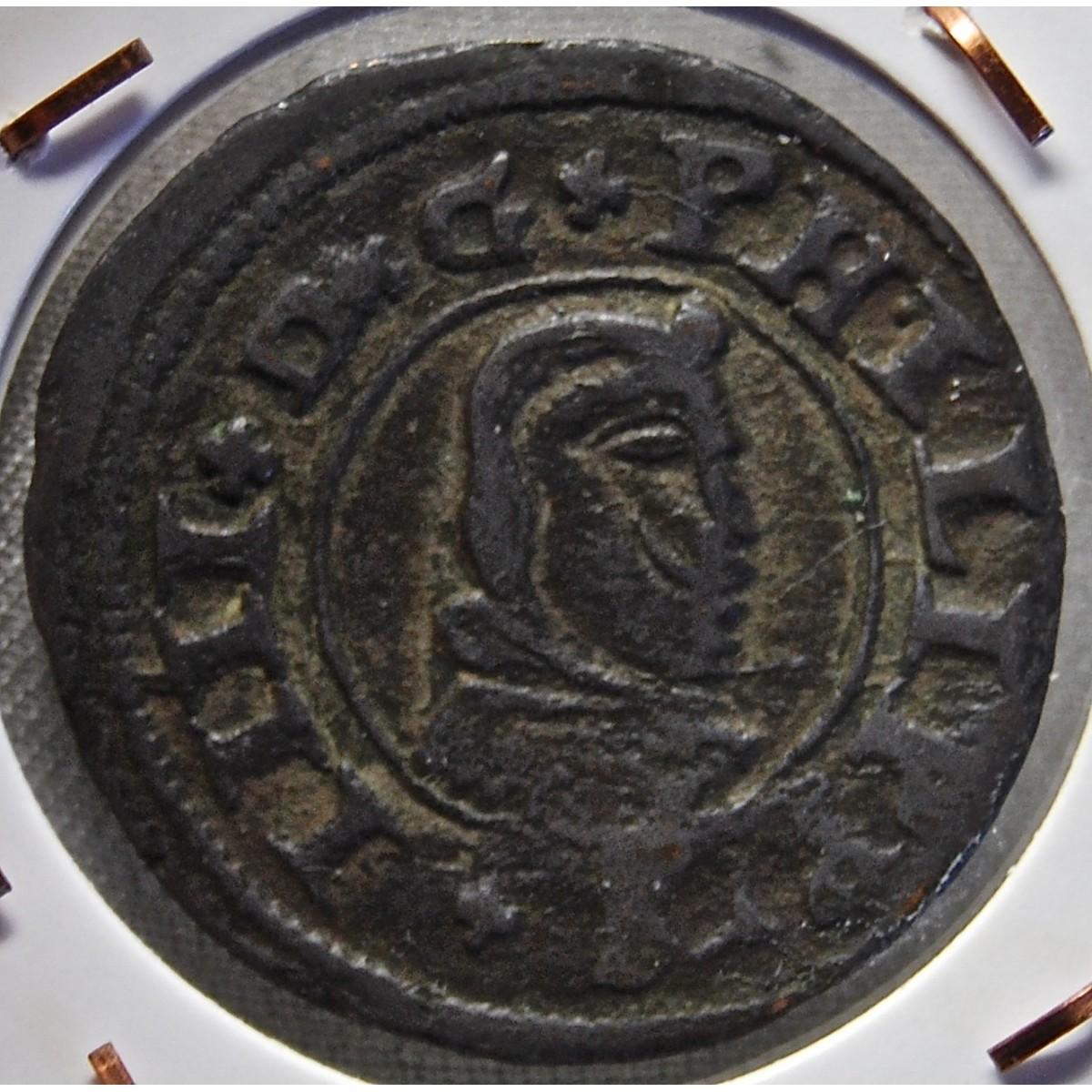 Moneda de cobre de 16 maravedis de 1663.