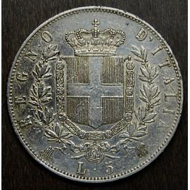 Moneta 5 lire, 1874, Vittorio Emanuele II.
