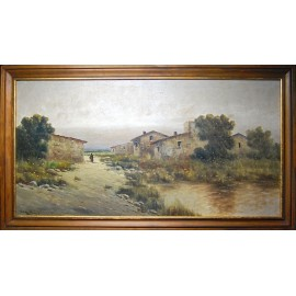 Félix Urgellés de Tovar- paisaje con figura.