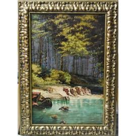 Paisaje, bosque con rio, firmado y fechado